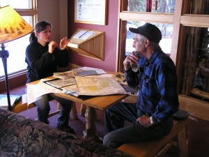 Sandra Lichter, Itasca State Park Naturalist, and Frank Mitchell, Historian for the Hubbard County Minnesota Historical Society, discuss the early route of the Jefferson Highway. (click to enlarge)